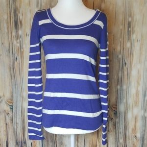LOFT blue and white striped sweater